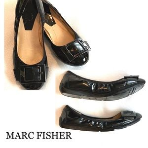 MARC FISHER Black Patent Bendable Flats 5.5M Wmns.